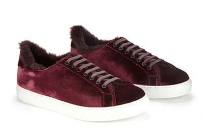 Sneaker in velluto e pelliccia