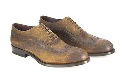 Waxy suede oxford shoe