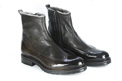Ankle boot made with hand colored leather and soft nappa