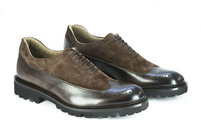 Leather and suede oxford shoe
