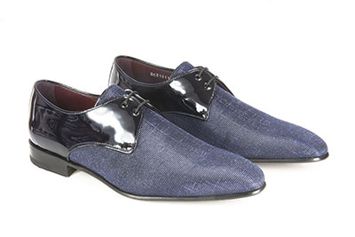 Derby made with iridescent fabric and patent leather