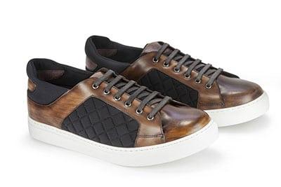 Sneaker in pelle colorata a mano e lycra